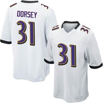 Youth Nike Baltimore Ravens Khalil Dorsey White Jersey - Game