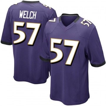 Youth Nike Baltimore Ravens Kristian Welch Purple Team Color Jersey - Game