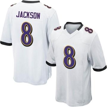 Youth Nike Baltimore Ravens Lamar Jackson White Jersey - Game