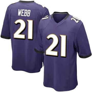 Youth Nike Baltimore Ravens Lardarius Webb Purple Team Color Jersey - Game