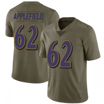 Youth Nike Baltimore Ravens Marcus Applefield Green 2017 Salute to Service Jersey - Limited