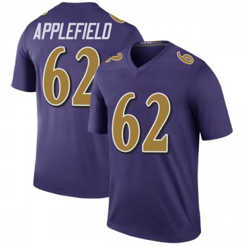 Youth Nike Baltimore Ravens Marcus Applefield Purple Color Rush Jersey - Legend
