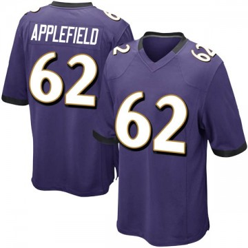 Youth Nike Baltimore Ravens Marcus Applefield Purple Team Color Jersey - Game