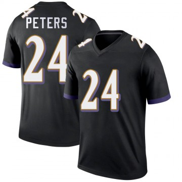 Youth Nike Baltimore Ravens Marcus Peters Black Jersey - Legend