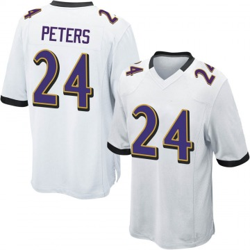 Youth Nike Baltimore Ravens Marcus Peters White Jersey - Game