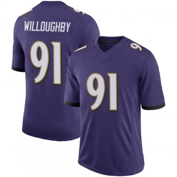 Youth Nike Baltimore Ravens Marcus Willoughby Purple 100th Vapor Jersey - Limited