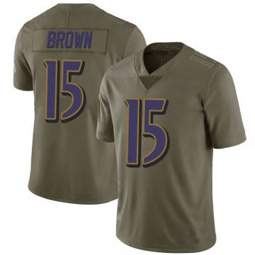 Youth Nike Baltimore Ravens Marquise Brown Green 2017 Salute to Service Jersey - Limited