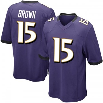 Youth Nike Baltimore Ravens Marquise Brown Purple Team Color Jersey - Game