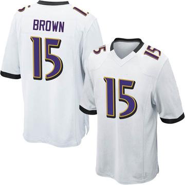 Youth Nike Baltimore Ravens Marquise Brown White Jersey - Game