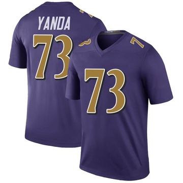 Youth Nike Baltimore Ravens Marshal Yanda Purple Color Rush Jersey - Legend