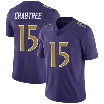 Youth Nike Baltimore Ravens Michael Crabtree Purple Color Rush Vapor Untouchable Jersey - Limited