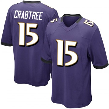 Youth Nike Baltimore Ravens Michael Crabtree Purple Team Color Jersey - Game