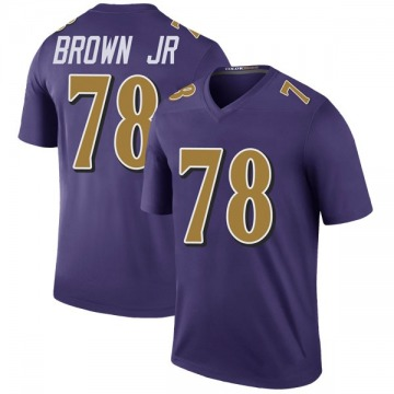 Youth Nike Baltimore Ravens Orlando Brown Jr. Purple Color Rush Jersey - Legend