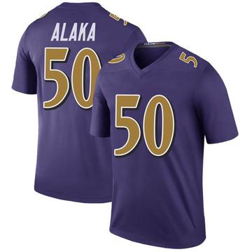 Youth Nike Baltimore Ravens Otaro Alaka Purple Color Rush Jersey - Legend