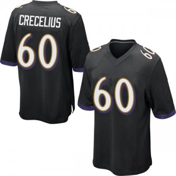 Youth Nike Baltimore Ravens Randin Crecelius Black Jersey - Game