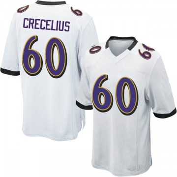 Youth Nike Baltimore Ravens Randin Crecelius White Jersey - Game