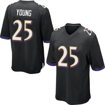 Youth Nike Baltimore Ravens Tavon Young Black Jersey - Game
