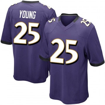 Youth Nike Baltimore Ravens Tavon Young Purple Team Color Jersey - Game