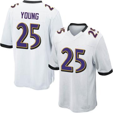 Youth Nike Baltimore Ravens Tavon Young White Jersey - Game