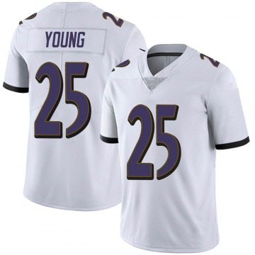 Youth Nike Baltimore Ravens Tavon Young White Vapor Untouchable Jersey - Limited
