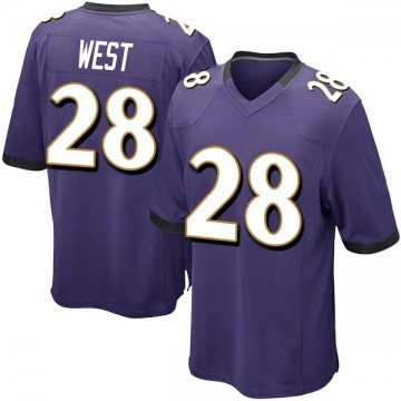 Youth Nike Baltimore Ravens Terrance West Purple Team Color Jersey - Game