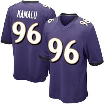 Youth Nike Baltimore Ravens Ufomba Kamalu Purple Team Color Jersey - Game