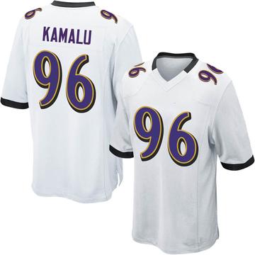 Youth Nike Baltimore Ravens Ufomba Kamalu White Jersey - Game